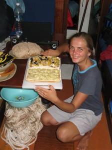 Janička pekařka s pizzou a chlebem